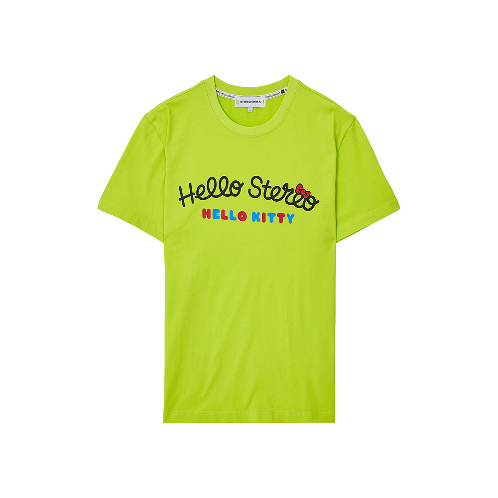 [Hello Kitty] Hello Stereo S/S T-shirts(Green) 스테레오 바이널즈