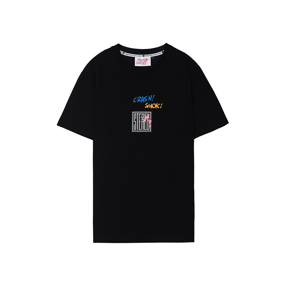 [Pink Panther] Square Logo S/S T-shirts (Black) 스테레오 바이널즈