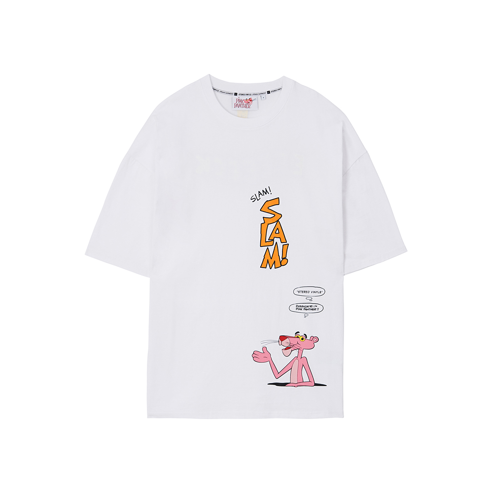 [Pink Panther] Comics S/S T-shirts(White) 스테레오 바이널즈