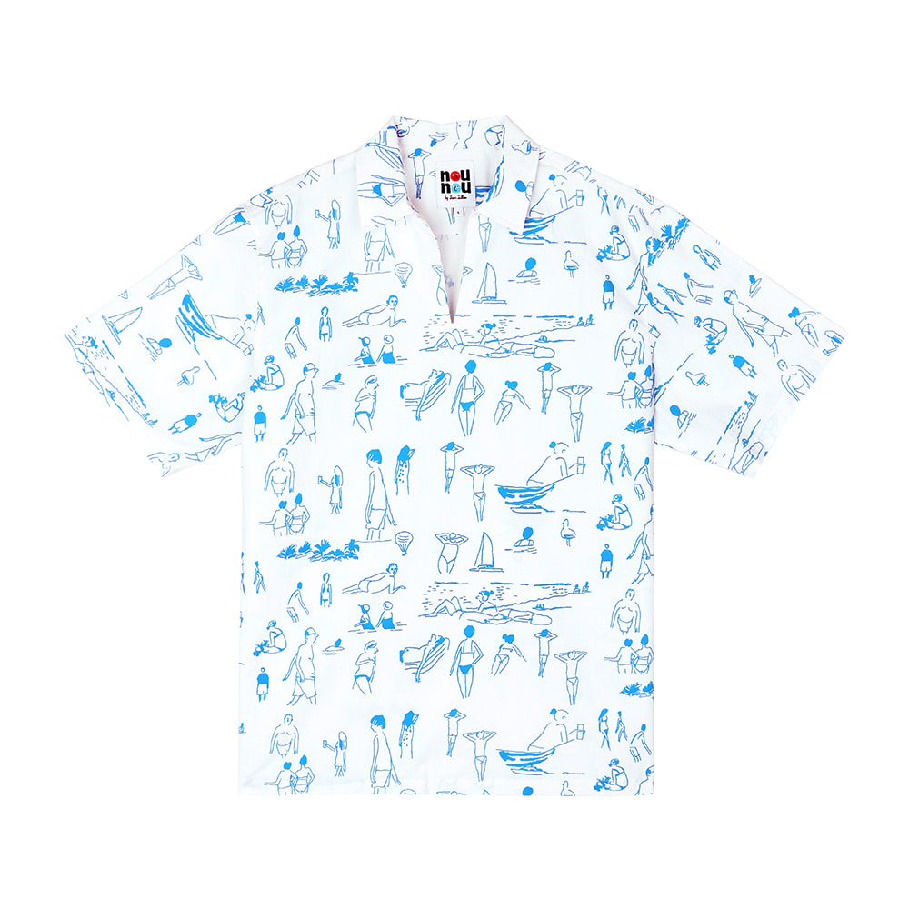 [SS18 NOUNOU] Summer Beach Oxford Popover Shirts(White) 스테레오 바이널즈