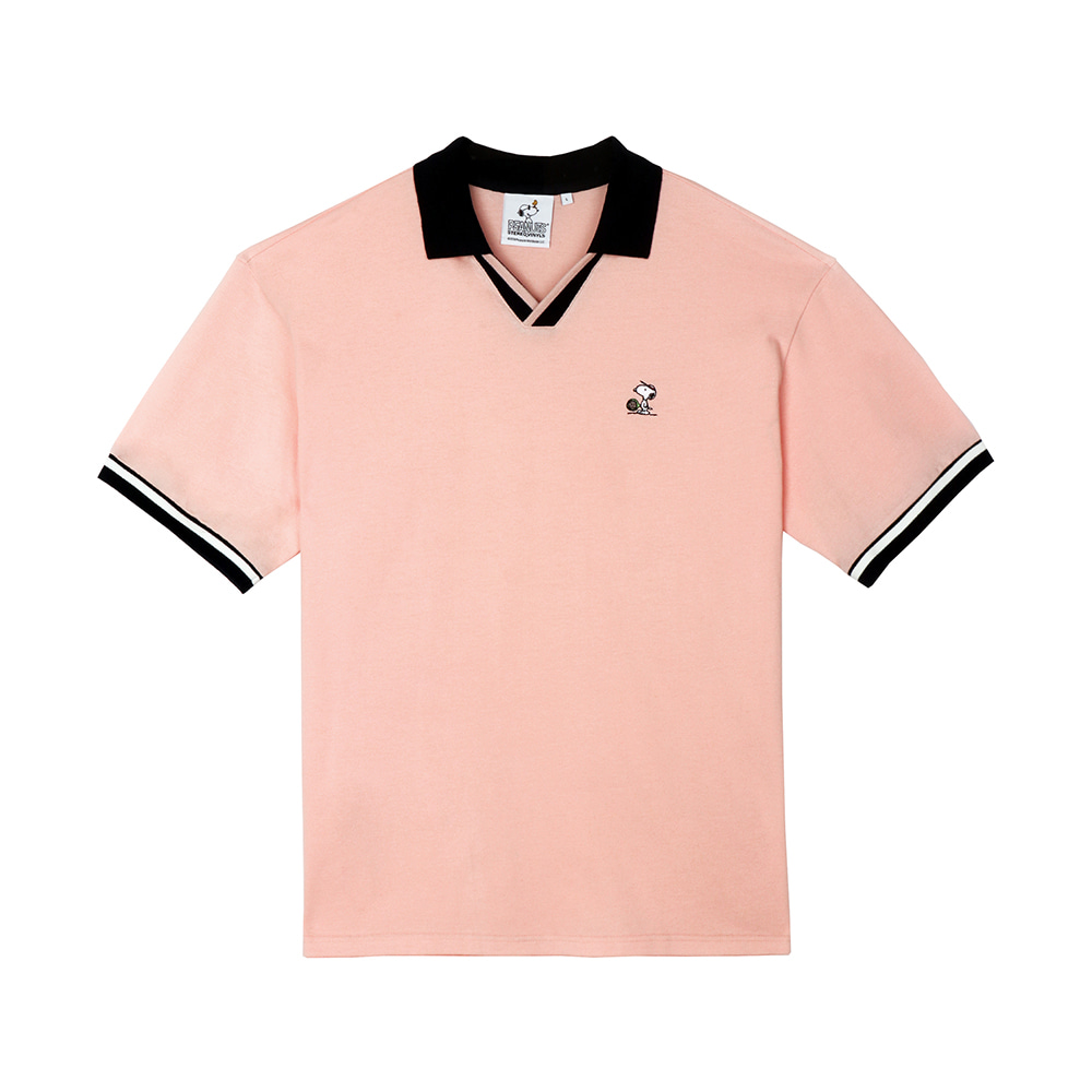 [SM18 Peanuts] Oversized Polo T-Shirts(Pink) 스테레오 바이널즈