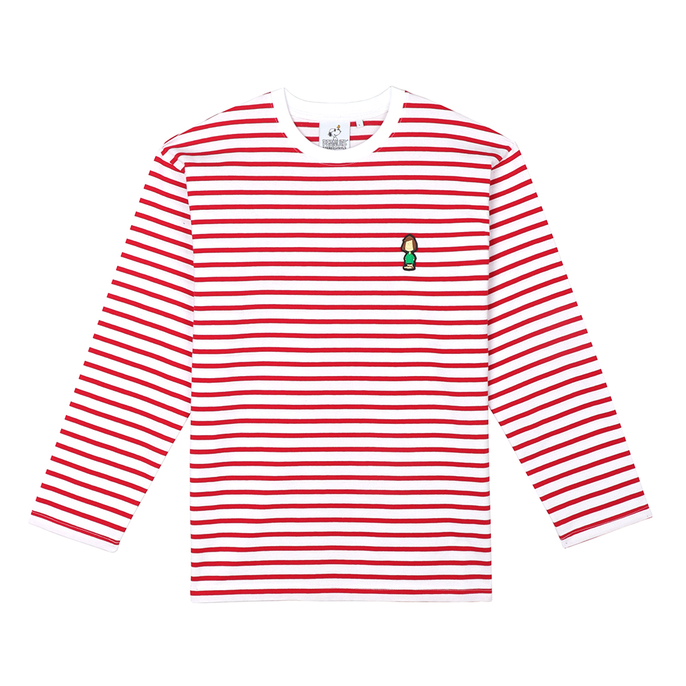[FW18 Peanuts] Stripe Roundneck Long Sleeve(Red) 스테레오 바이널즈